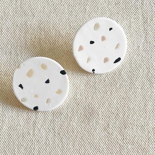 White Dot Earrings