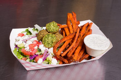 Falafel Box with Sweet Potato Fries