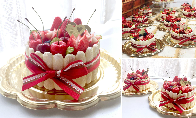 飾り切り苺のフルーツシャルロット