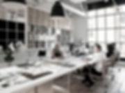 Oficinas con empleados trabajando, Espacio Escandón
