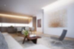 Render interior sala y comedor Espacio Escandón