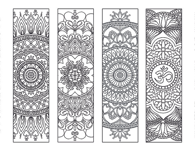 8 Mandala Coloring Bookmarks Set 2