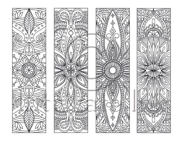8 Mandala Coloring Bookmarks Set 3