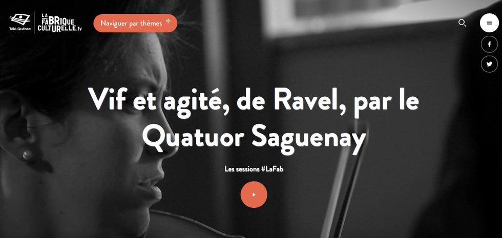 Vif et agité, de Ravel, par le Quatuor Saguenay