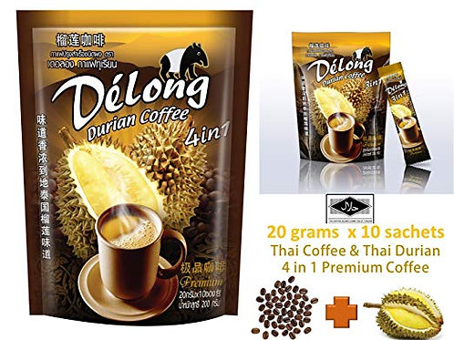 De'Long (Delong) 4 in 1 Durian Coffee From Thailand
