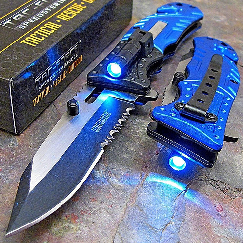 Tac-Force Blue Police Assisted Open LED Tactical Knife