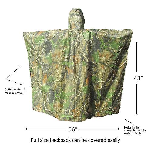 Rain Poncho - Waterproof, Hooded, Heavy Duty PVC Raincoat