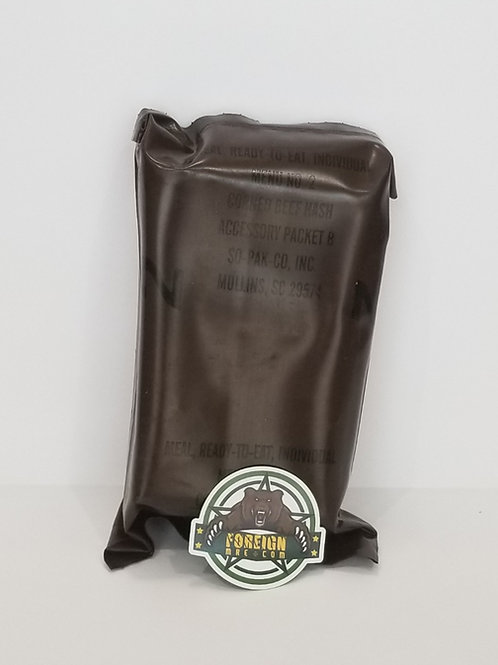 US MILITARY Vintage MRE Menu 1 Pork with Rice in BBQ Sauce