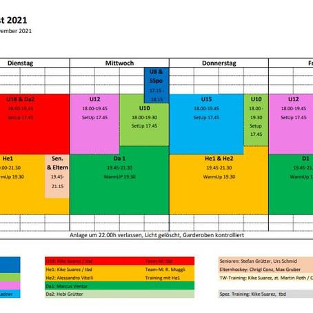Neuer Trainingsplan Vorrunde Feld 2021/22