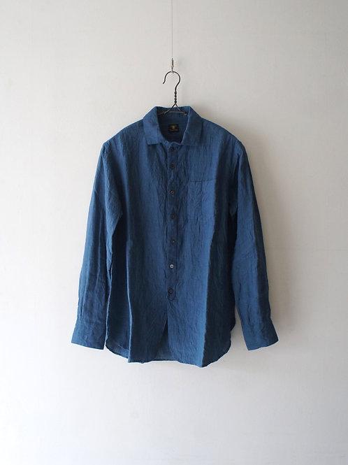 """Django Atour"" Linen easy shirt -swedish blue- -size L-"