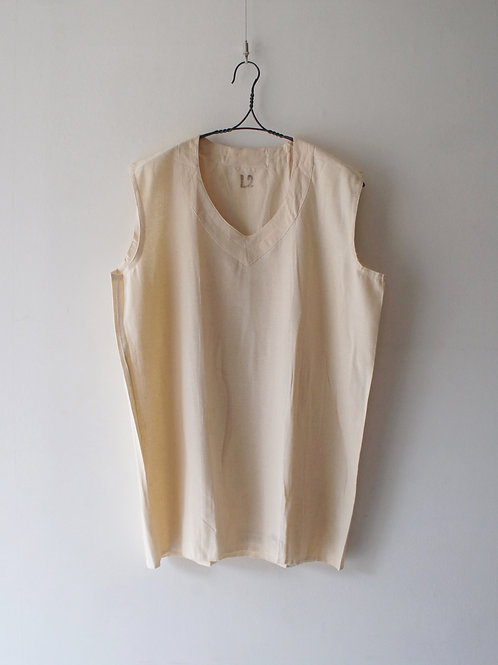 "1950's ""French Military"" Wool Linen Vest -Deadstock- -White M-"