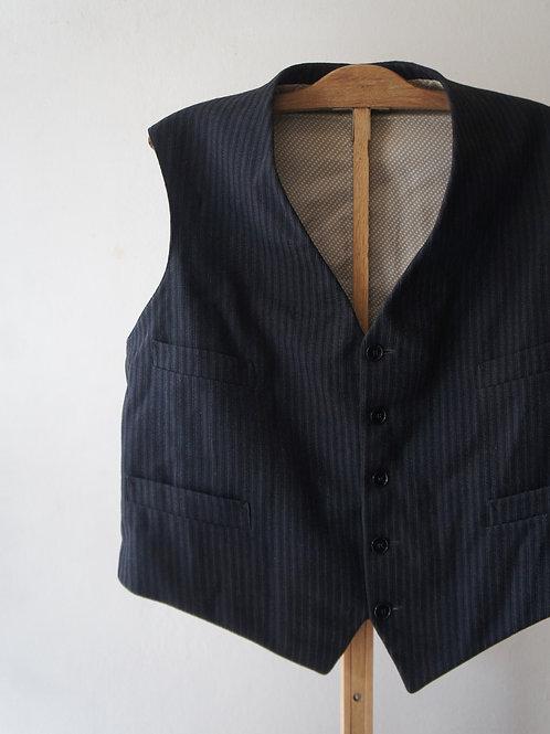 1930's French black stripe gilet -B-