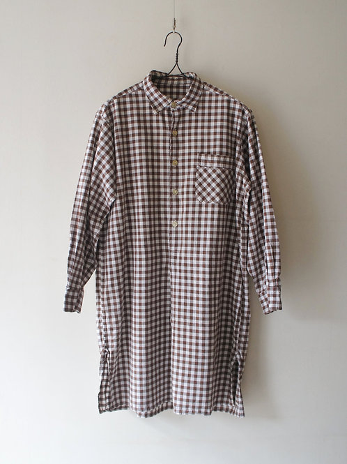 1950-60's French Gingham Check Long Shirt