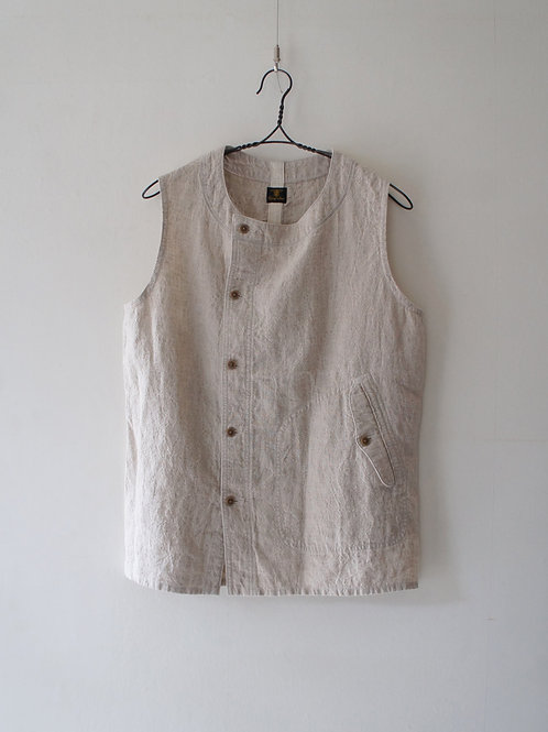 """Django Atour"" French Farmers Linen Vest -Ecru- Size M"