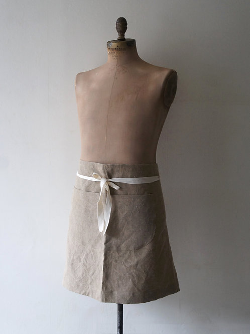 Linen Short Tablier -Flax-