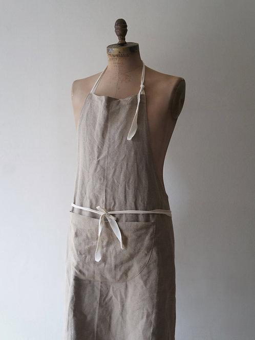 Linen Long Tablier -Flax-