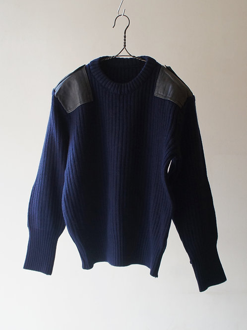 1970-80's Leather Patch Combat Sweater