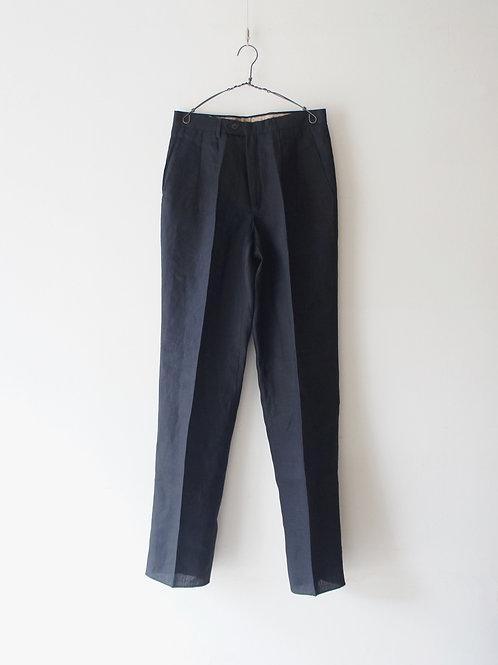 1973's Italy Black Linen Trousers -Deadstock-