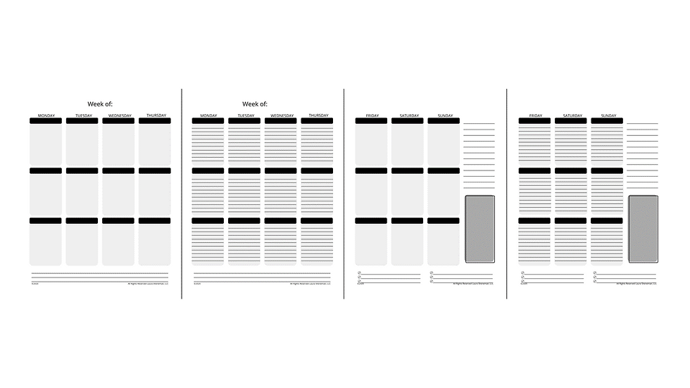 Weekly Layouts (Black and White)