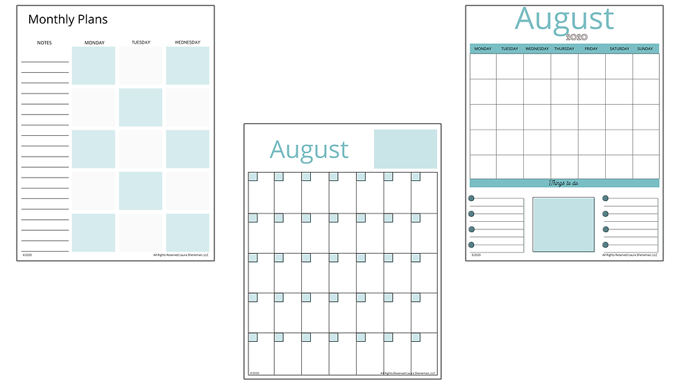 Monthly Calendar Layouts (Green)