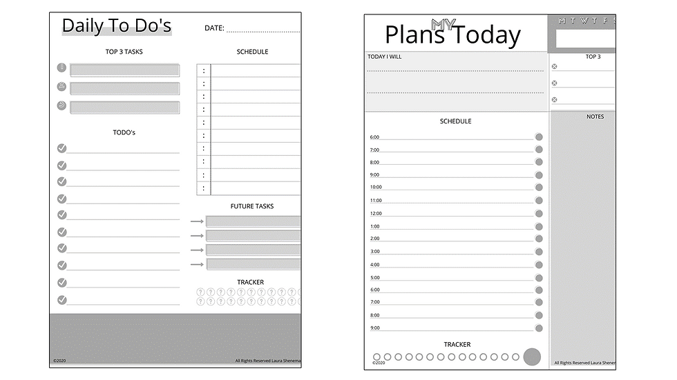 Daily Layouts (Black and White)