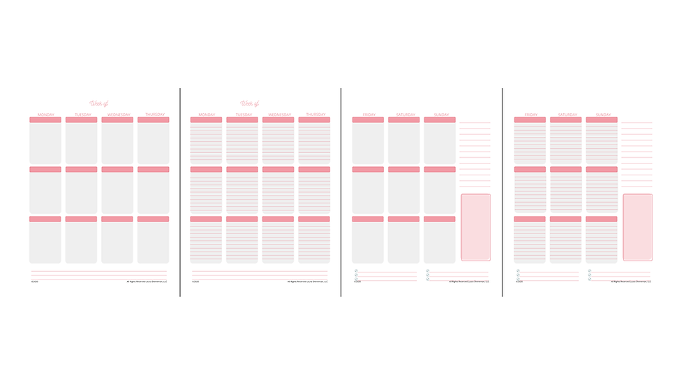 Weekly Layouts (Pink)