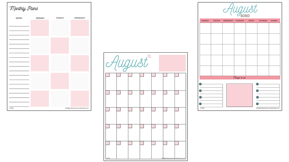 Monthly Calendar Layouts (Pink)