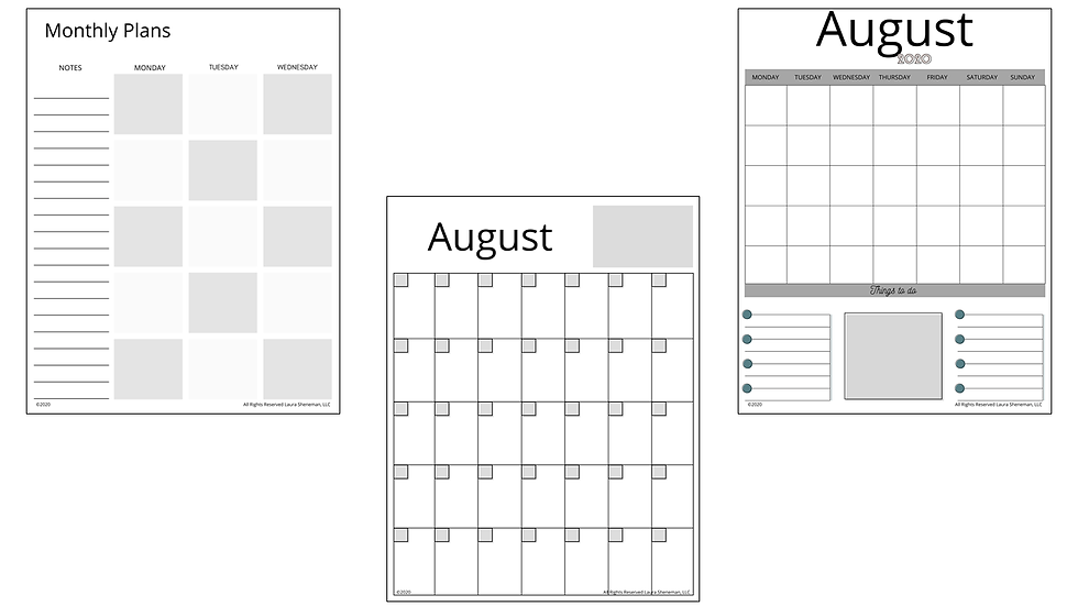 Monthly Calendar Layouts (Black and White)