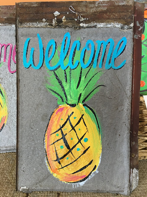 "Rusted metal ceiling tile ""Welcome"" pineapple"