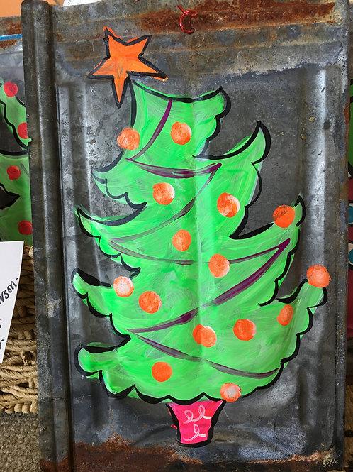 Rusted metal ceiling tile Christmas Tree