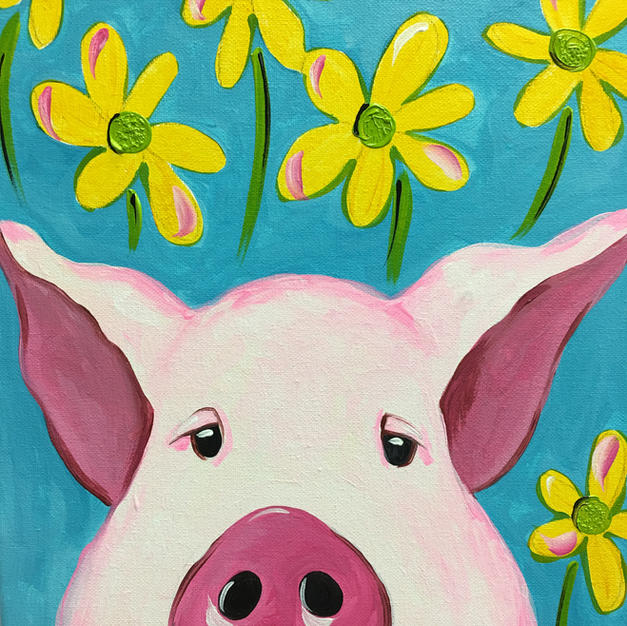 Pig with Daisies Canvas