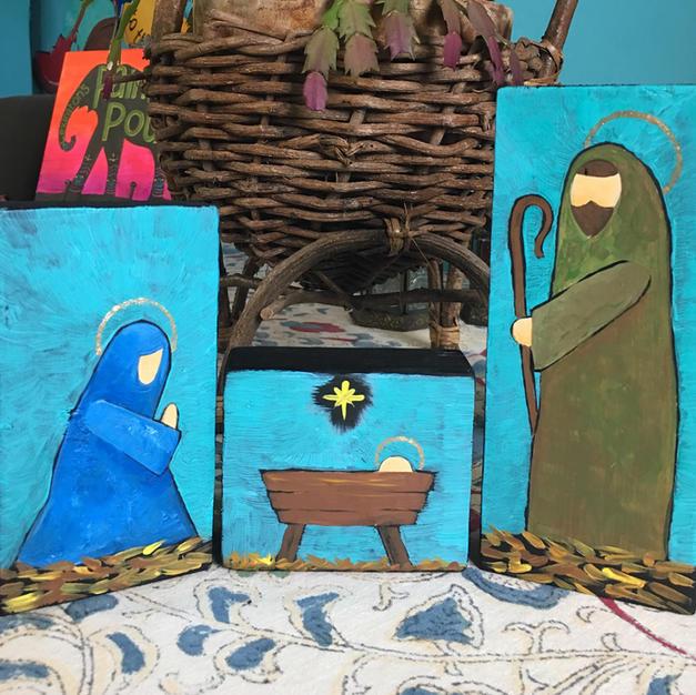 Wood Block Nativity