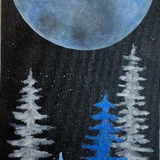 Full Moon with Trees Skinny Board
