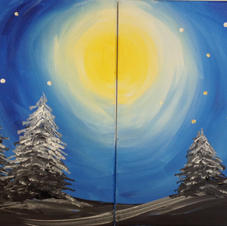 Trees in Moonlight Date Night (2 Canvases)
