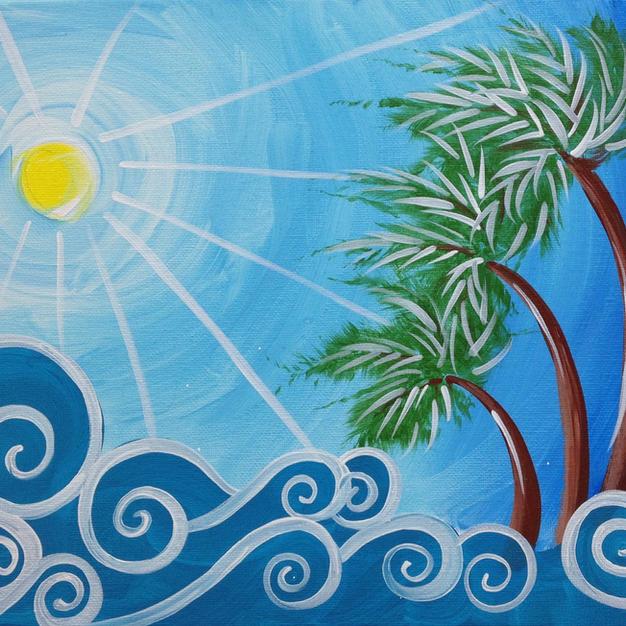 Palms & Waves Canvas