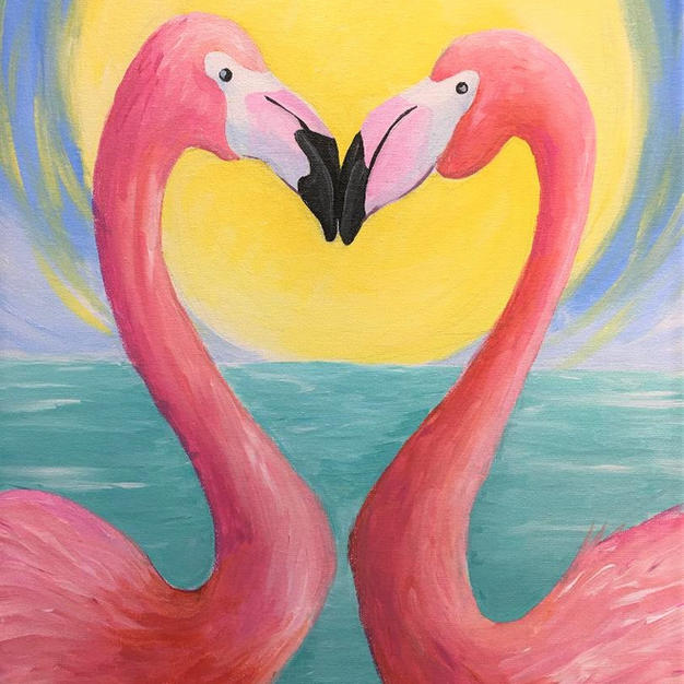 Flamingo Love Canvas