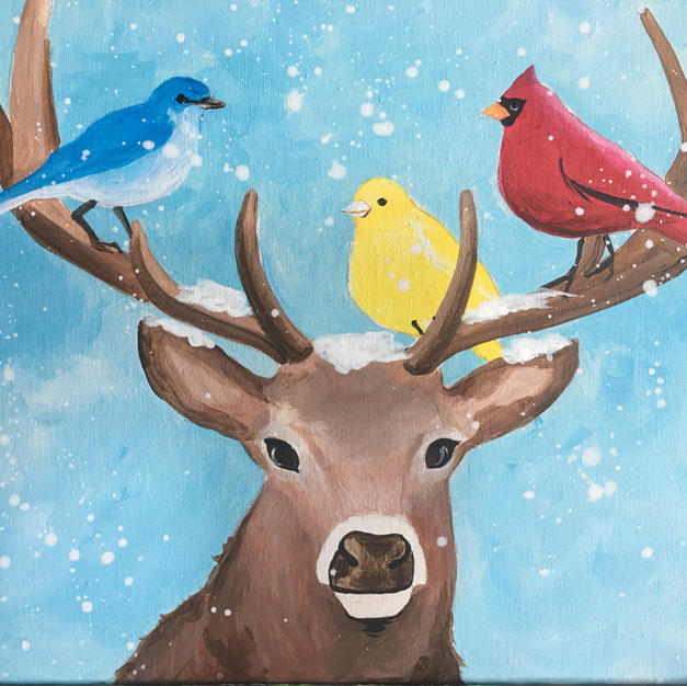 Deer with Birds Canvas
