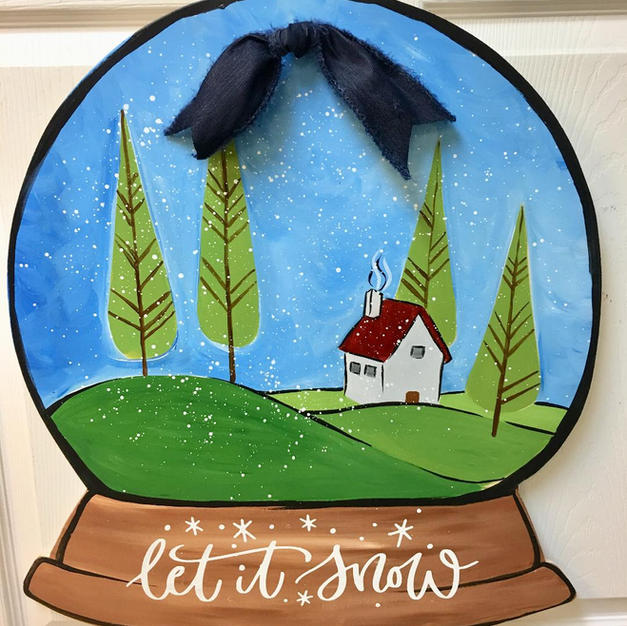 #152 Little House Snowglobe Wood Cutout