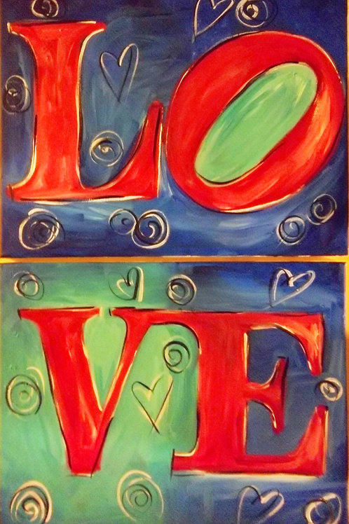 February 10, Wednesday, LOVE canvas(es) 6:30-8:30pm