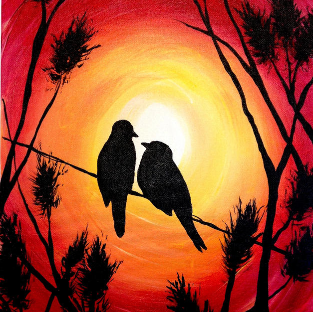 Lovebirds Sunset Canvas