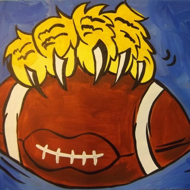 Paw with Football Canvas