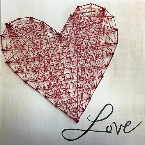 LOVE string art on wood square panel