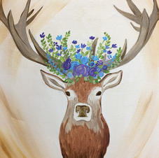 Deer Bouquet Canvas