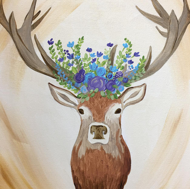 Deer Bouquet Canvas