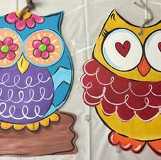 #96, 97 Mini Owls Wood Cutouts