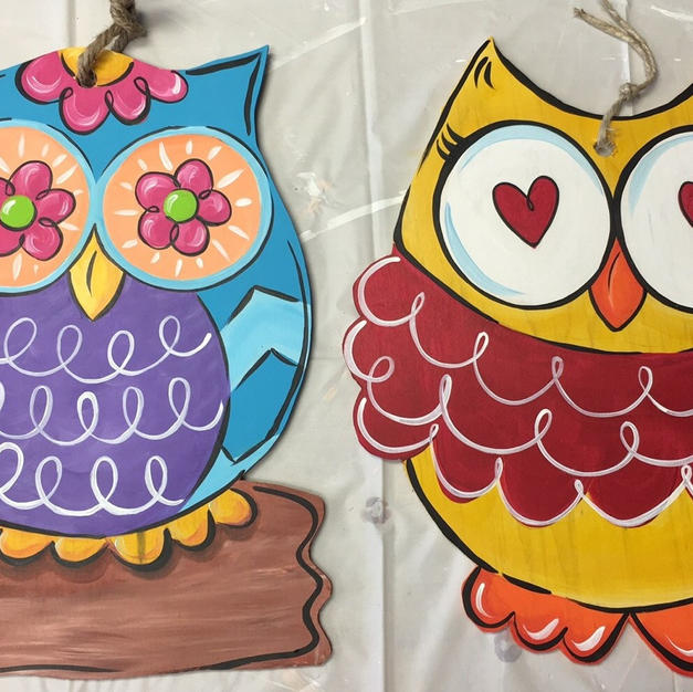 #96, 97 Mini Owls Wood Cutouts