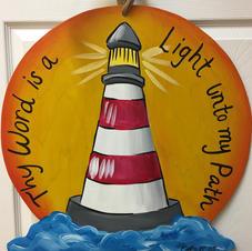 #152 Lighthouse with Sun Wood Cutout