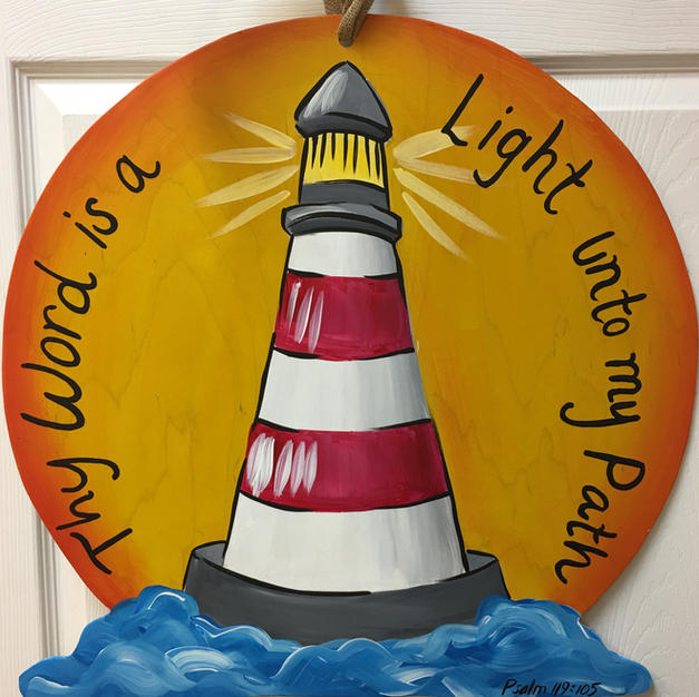 #152 Lighthouse with Sun Wood Cutout