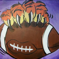 Clemson Paw with Football Canvas