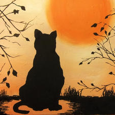 Black Cat with Sunset Canvas